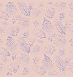 pale pattern with blue tropical leaves on pink vector image