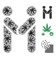 Persons handshake collage of marijuana vector