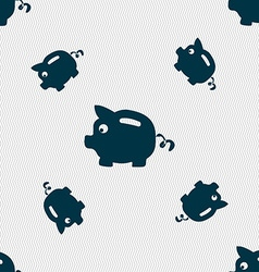 Piggy bank icon sign Seamless pattern with vector