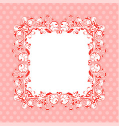 pink ornamental frame vintage decoration vector image