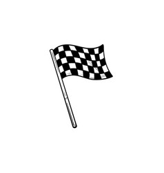 racing checkered flag hand drawn outline doodle vector image