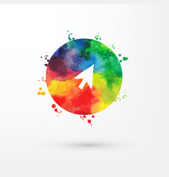 rainbow grungy watercolor arrow icon inside vector image