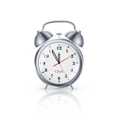 realistic metal alarm clock on white background vector image