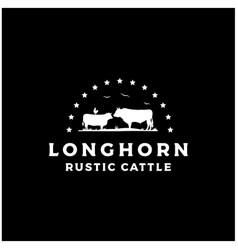 Retro vintage livestock cattle angus beef logo vector