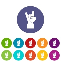 Rock and Roll hand sign set icons vector image