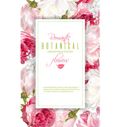 romantic flowers vertical frame vector image
