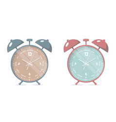 set alarm clock cartoon style vector image