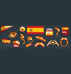 set national flag spain in vector image