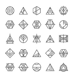 Set of abstract linear hipster tribal vector