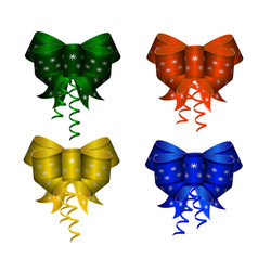 set of elegant colorful realistic silk bows of vector image