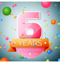 Six years anniversary celebration background vector