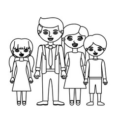 Sketch silhouette family group with parents in vector
