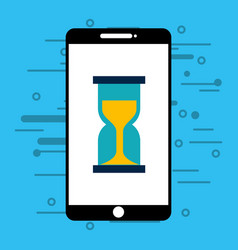 smartphone with hourglass isolated icon vector image