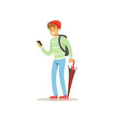 Smiling man standing with phone and folded vector