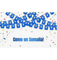 somalia garland flag with confetti on transparent vector image