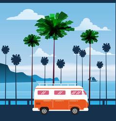 travel trip sunset ocean vector image