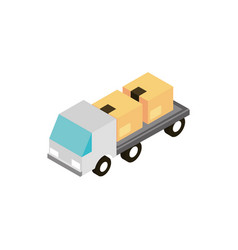 truck cardboard boxes delivery transport vehicle vector image