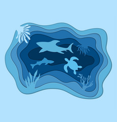 underwater deep sea background paper cut style vector image