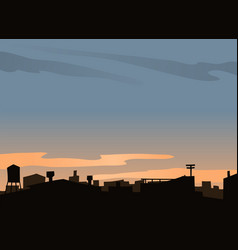 Urban scene with roofs and sunset vector
