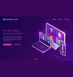 Video conference online call isometric landing vector
