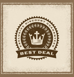 vintage best deal label vector image