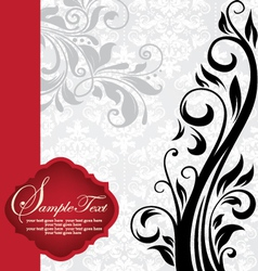 vintage invitation card with floral background vector image