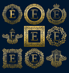 vintage monograms set of e letter vector image