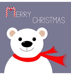 White polar bear in red scarf Candy cane Merry vector