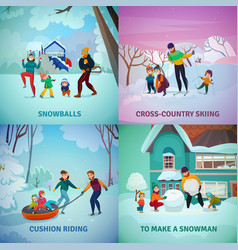 winter recreation concept icons set vector image