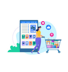 woman with trolley and online shop application vector image