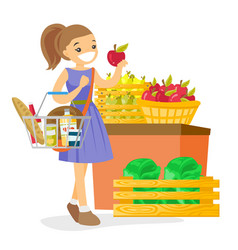 Young caucasian white woman buying products vector