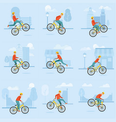 young guy rides a bmh and performs various complex vector image