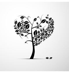 Abstract heart shaped tree on grey background vector