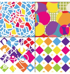 Geometric funny seamless patterns vector image vector image