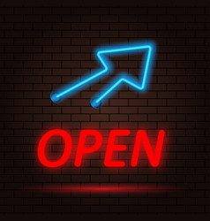 open neon sign and arrow on brick wall background vector image vector image