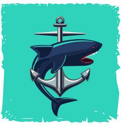 anchor and shark isolated cartoon vector image