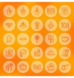 Line Circle Cooking Food and Utensil Icons Set vector image vector image