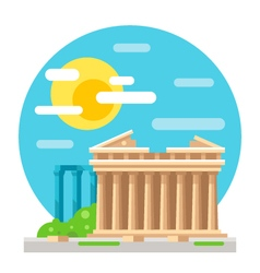 Parthenon flat design landmark vector image