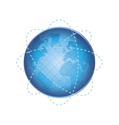 Planet sphere global earth communication icon vector
