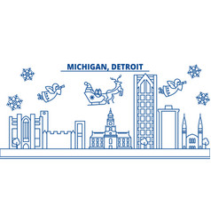 usa michigan detroit winter city skyline merry vector image vector image
