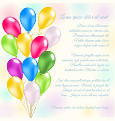Colorful balloons invitation card vector image vector image