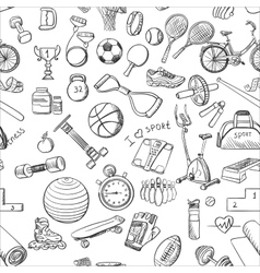 Hand drawn Fitness Sport doodle pattern vector image