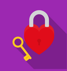 lock and key icon in flat style isolated on white vector image