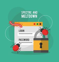 Spectre and meltdown login password security virus vector