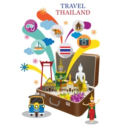 Suitcase with Thailand Landmark and Icons vector image