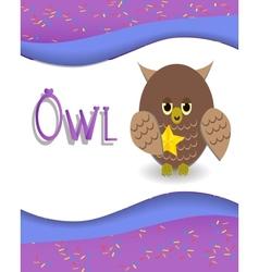 Animal alphabet owl vector image