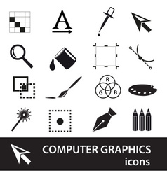 computer graphics black symbols icon set eps10 vector image