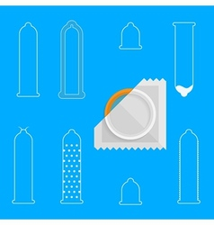 Contour icons for condoms vector image