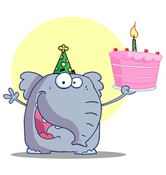 Elephant In A Party Hat Holding Up A Cake vector image vector image