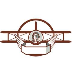 World War 1 Pilot Airman Spad Biplane Circle Retro vector image vector image